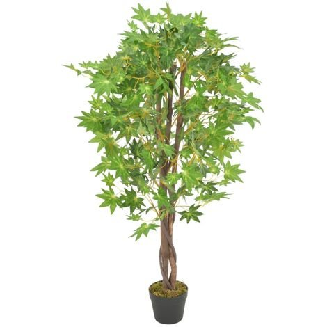 Hommoo Artificial Plant Maple Tree with Pot Green 120 cm