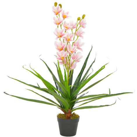 Hommoo Artificial Plant Orchid with Pot Pink 90 cm