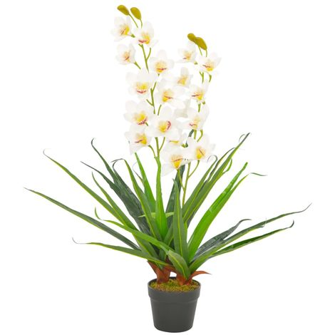 Hommoo Artificial Plant Orchid with Pot White 90 cm