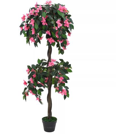 Hommoo Artificial Rhododendron Plant with Pot 155 cm Green and Pink