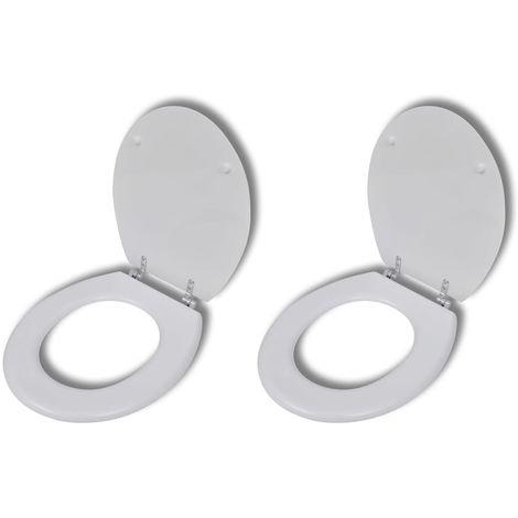 Hommoo Asiento inodoro con tapas de cierre fuerte 2 piezas MDF blanco