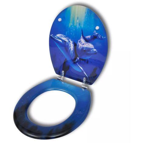 Hommoo Asiento inodoro WC de MDF cierre fuerte tapa de delfines