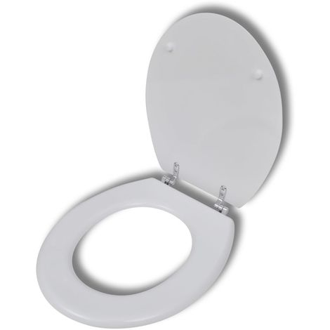 Hommoo Asiento inodoro WC MDF tapa de cierre fuerte diseño blanco