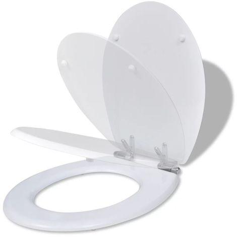 Hommoo Asiento inodoro WC MDF tapa de cierre suave diseño blanco