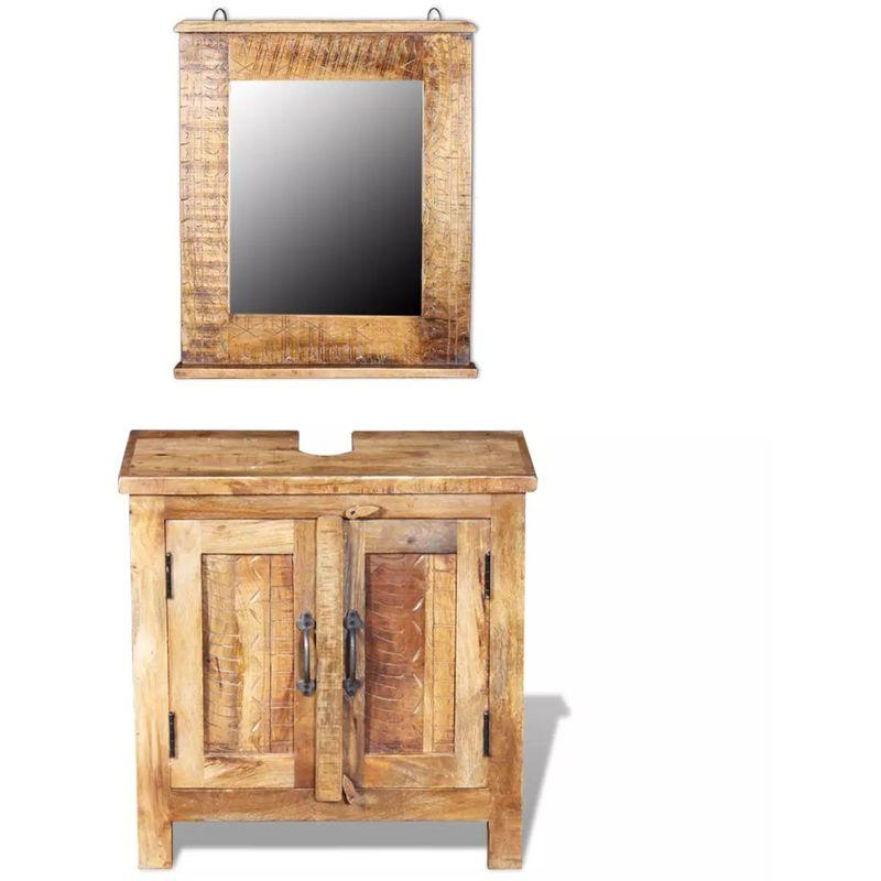 Badkommode mit Spiegel Massivholz Mango VD09818 - Hommoo