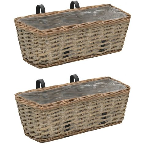 Hommoo Balcony Planter 2 pcs Wicker with PE Lining 40 cm