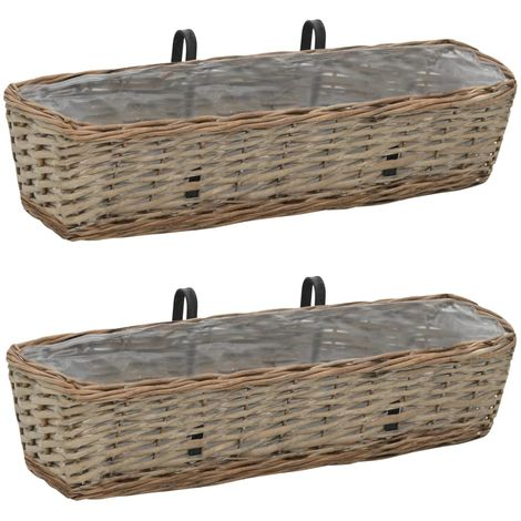 Hommoo Balcony Planter 2 pcs Wicker with PE Lining 60 cm