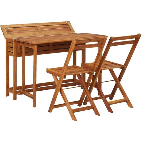 Hommoo Balcony Planter Table with 2 Bistro Chairs Solid Acacia Wood QAH29888