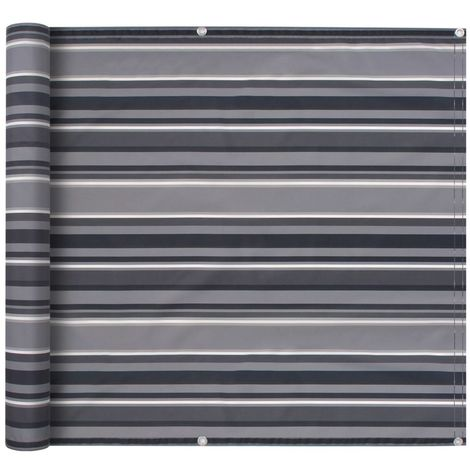 Hommoo Balcony Screen Oxford Fabric 75x400 cm Stripe Grey