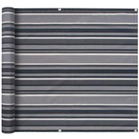 Hommoo Balcony Screen Oxford Fabric 75x600 cm Stripe Grey