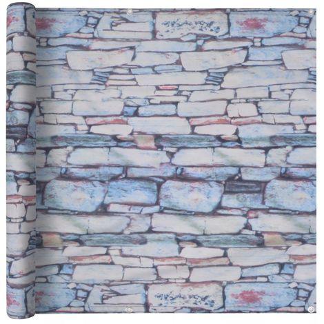 Hommoo Balcony Screen Oxford Fabric 90x600 cm Stone Wall Print