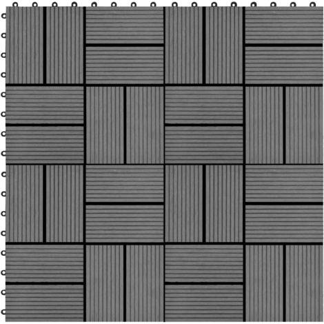 Hommoo Baldosas de porche de WPC 30x30 cm 2 m2 gris 22 unidades