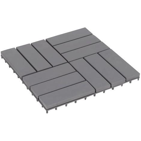 Hommoo Baldosas de terraza 10 uds gris madera maciza acacia 30x30 cm