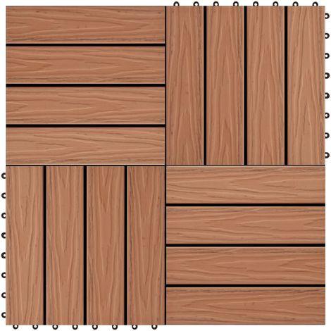 Hommoo Baldosas porche relieve profundo WPC 1 m2 marrón claro 11 uds