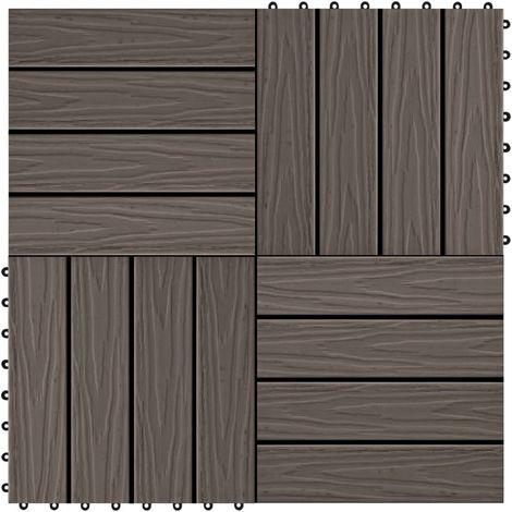 Hommoo Baldosas porche relieve profundo WPC 1 m2 marrón oscuro 11 uds