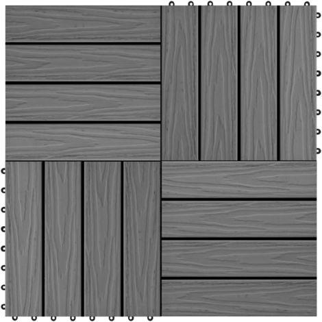 Hommoo Baldosas porche relieve profundo WPC 30x30 cm 1 m2 gris 11 uds