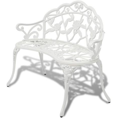 Hommoo Banc de jardin 100 cm Aluminium coulé Blanc
