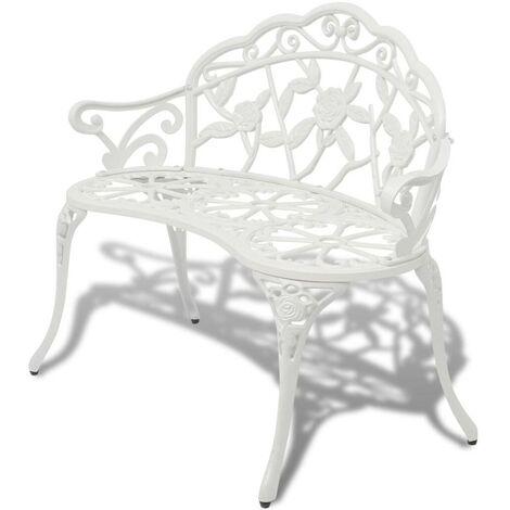 Hommoo Banc de jardin 100 cm Aluminium coulé Blanc HDV26836