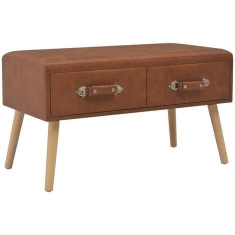 Hommoo Banco con cajones cuero sintético marrón 80 cm