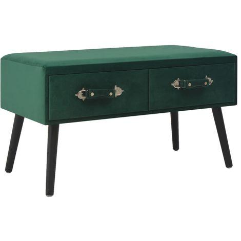 Hommoo Banco con cajones terciopelo verde 80 cm
