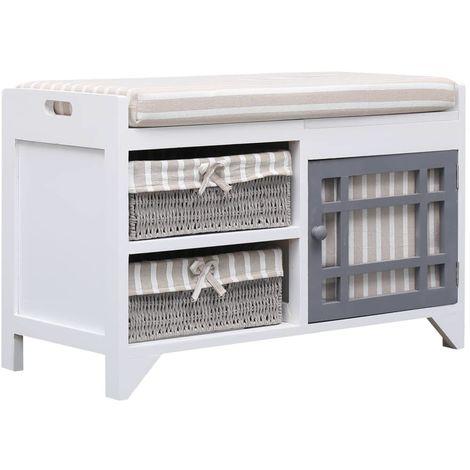 Hommoo Banco de recibidor de madera de Paulownia blanco 70x33,5x45 cm