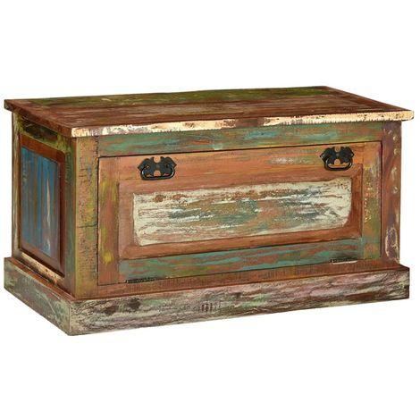 Hommoo Banco zapatero de madera maciza reciclada