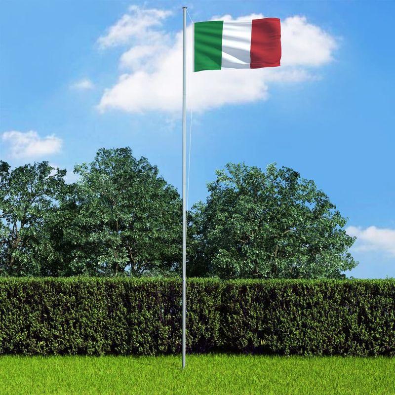 Hommoo Bandera de Italia y mástil de aluminio 6,2 m