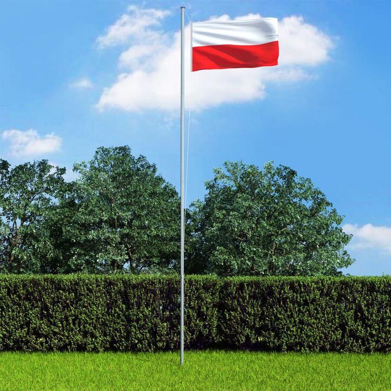 Hommoo Bandera de Polonia y mástil de aluminio 6,2 m