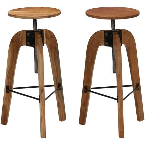 Hommoo Bar Chairs 2 pcs Solid Acacia Wood