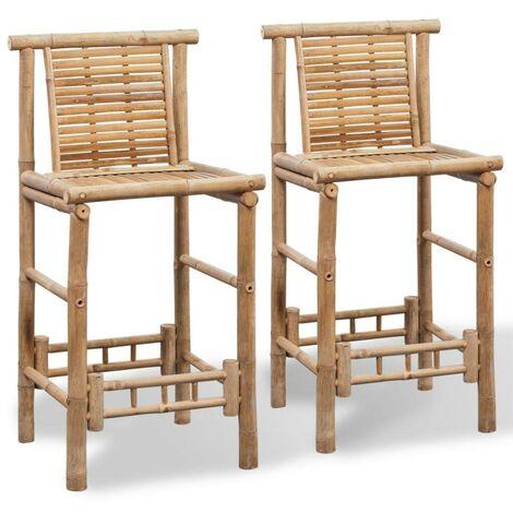 Hommoo Bar Stools 2 pcs Bamboo