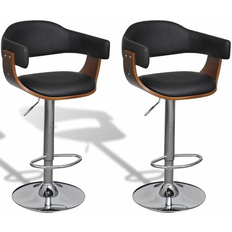 Hommoo Bar Stools 2 pcs Bent Wood and Faux Leather VD33046