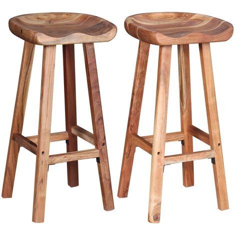Hommoo Bar Stools 2 pcs Solid Acacia Wood VD10401