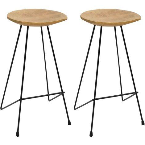 Hommoo Bar Stools 2 pcs Solid Teak Wood VD36428
