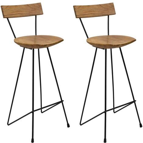 Hommoo Bar Stools 2 pcs Solid Teak Wood VD36430