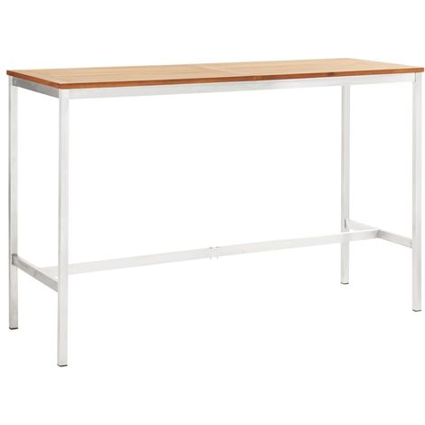 Hommoo Bar Table 160x60x105 cm Solid Acacia Wood and Stainless Steel
