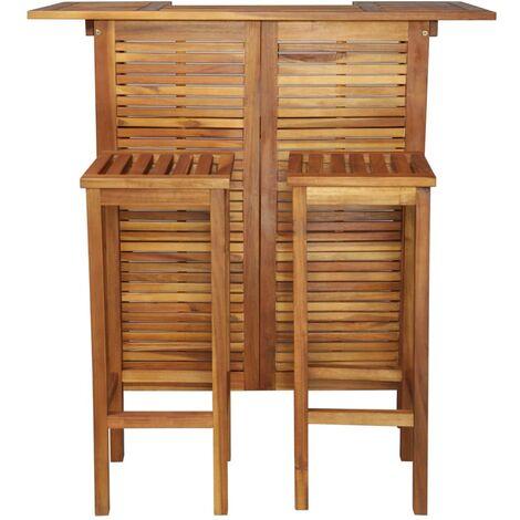 Hommoo Bar Table and Chair Set 3 Pieces Solid Acacia Wood QAH28229