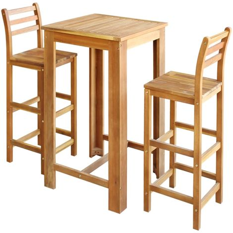 Hommoo Bar Table and Chair Set 3 Pieces Solid Acacia Wood VD12592