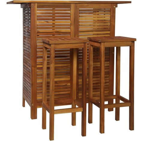 Hommoo Bar Table and Chair Set 3 Pieces Solid Acacia Wood VD28229