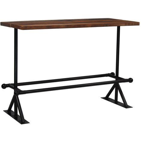 Hommoo Bar Table Solid Reclaimed Wood Dark Brown 150x70x107 cm