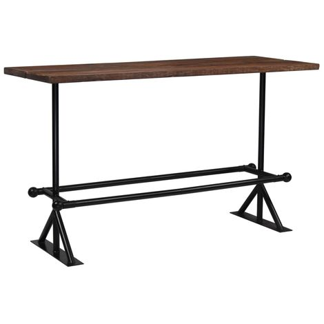 Hommoo Bar Table Solid Reclaimed Wood Dark Brown 180x70x107 cm