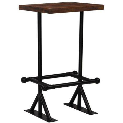Hommoo Bar Table Solid Reclaimed Wood Dark Brown 60x60x107 cm