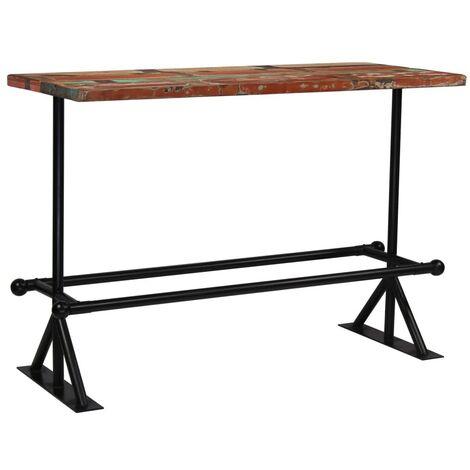 Hommoo Bar Table Solid Reclaimed Wood Multicolour 150x70x107 cm