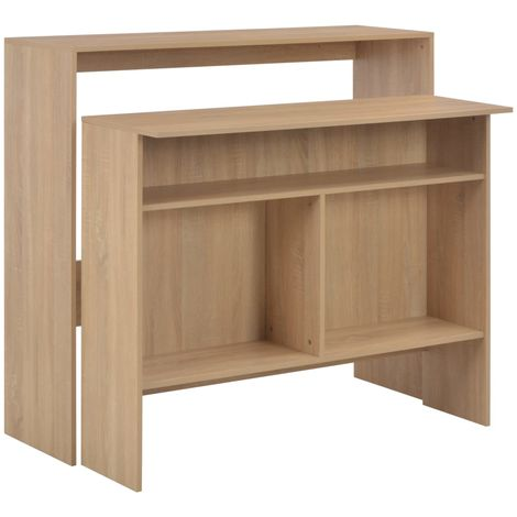 """main image of """"Hommoo Bar Table with 2 Table Tops Oak 130x40x120 cm VD22370"""""""