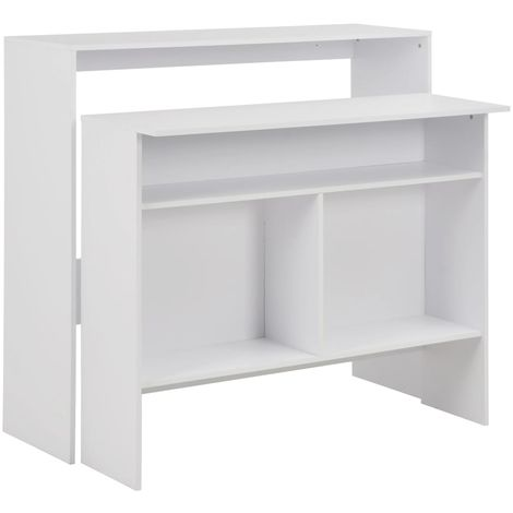 Hommoo Bar Table with 2 Table Tops White 130x40x120 cm