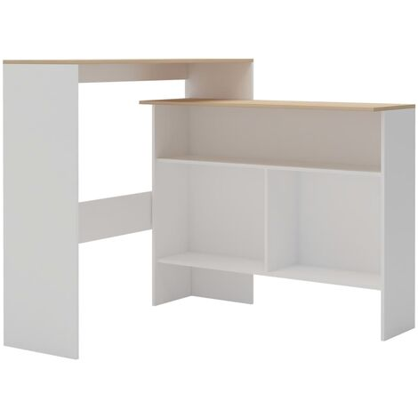 Hommoo Bar Table with 2 Table Tops White and Oak 130x40x120 cm QAH22371