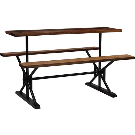 Hommoo Bar Table with Benches Solid Reclaimed Wood 180x50x107 cm