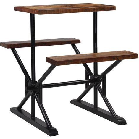 Hommoo Bar Table with Benches Solid Reclaimed Wood 80x50x107 cm