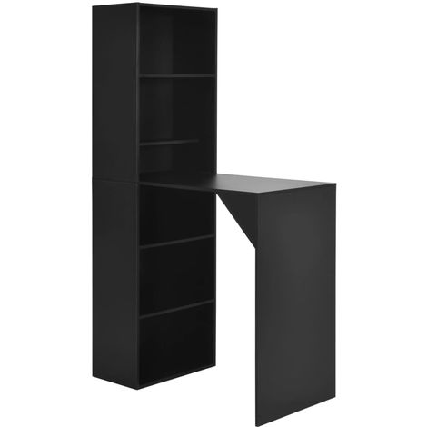 Hommoo Bar Table with Cabinet Black 115x59x200 cm VD22379