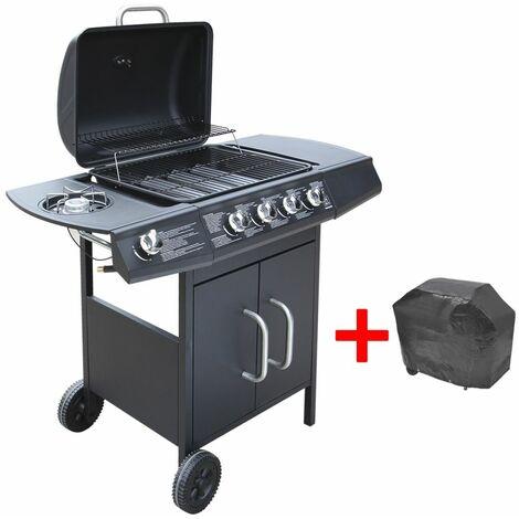 Hommoo Barbacoa grill de gas 4+1 quemadores negra