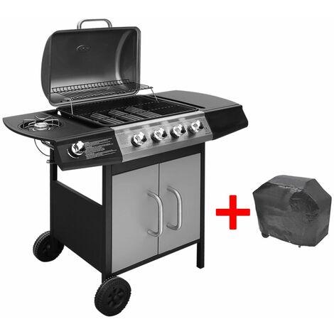 Hommoo Barbacoa grill de gas 4+1 quemadores negra y plateada